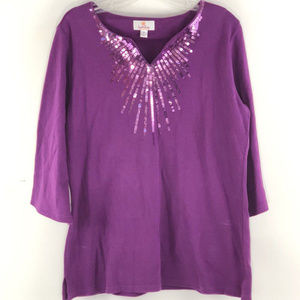Quacker Factory equin Accented Long Purple Top
